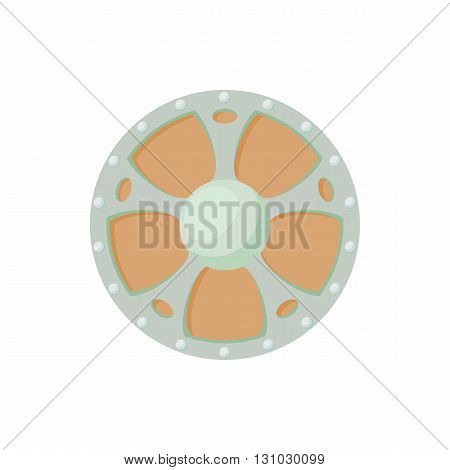 Round shield with wooden decoration icon in cartoon style isolated on white background. Protection and security symbol