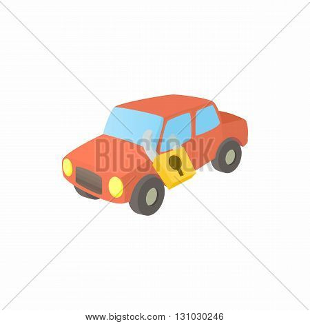 Impounded car icon in cartoon style isolated on white background. Transport and service symbol