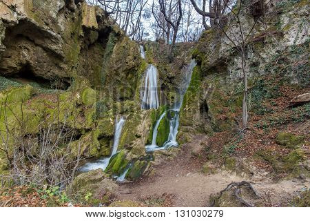 Beautiful view of Bachkovo waterfalls cascade in Rhodopes Mountain, Plovdiv region, Bulgaria