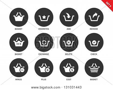 Baskets vector icons set. Shopping and consumerism concept. Items for shops and e-commerce, baskets, cost, check, delete, exchange, add and remove. Isolated on white background