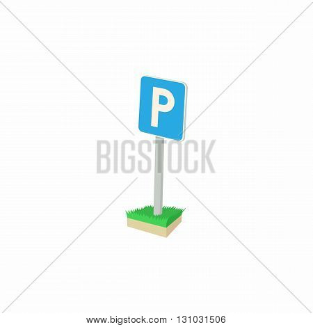 Parking sign icon in cartoon style isolated on white background. Transport and service symbol
