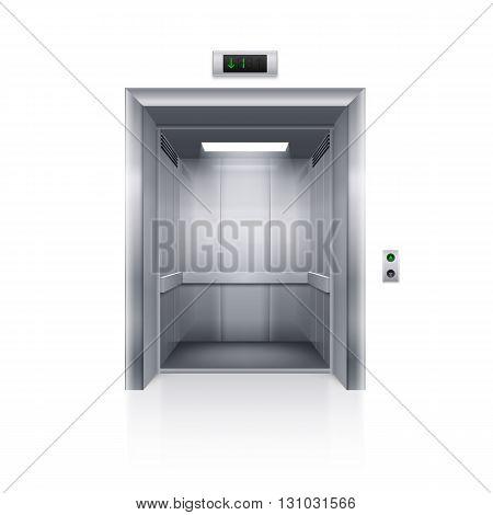 Realistic Empty Modern Elevator on White Background