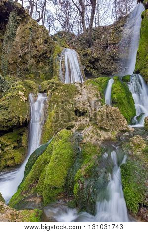 Beautiful Deep forest Waterfall near village of Bachkovo, Plovdiv region, Bulgaria