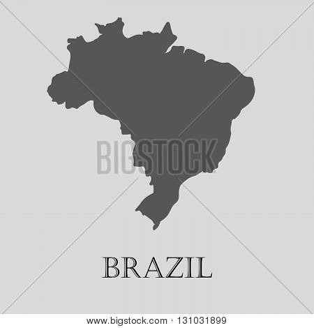 Black Brazil map on light grey background. Black Brazil map - vector illustration.