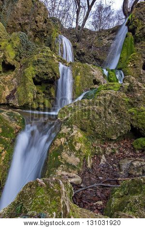 Landscape of Deep forest Waterfall near village of Bachkovo, Plovdiv region, Bulgaria