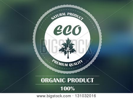 Logo on a green background . Eco products . Natural and organic products . Vector