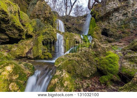 Deep forest Waterfall near village of Bachkovo, Rhodopes Mountain, Plovdiv region, Bulgaria