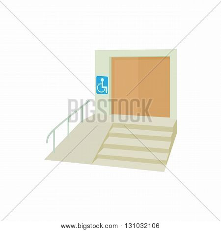 Ramp for disabled icon in cartoon style isolated on white background. Convenience for disabled symbol