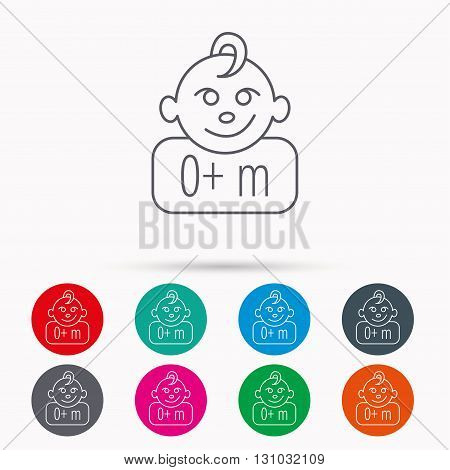 Baby face icon. Newborn child sign. Use of one months and plus symbol. Linear icons in circles on white background.