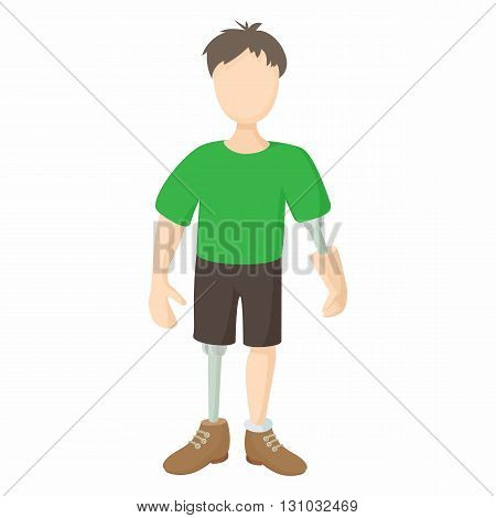 Disabled person with prosthetic icon in cartoon style isolated on white background. Disability and assistance symbol