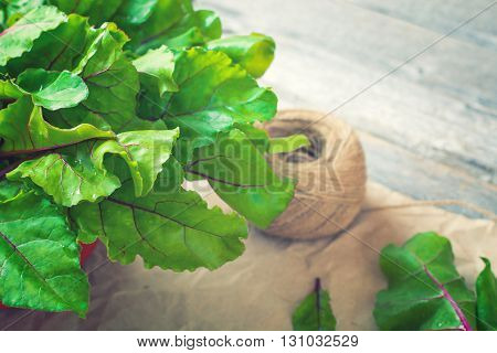 A closeup of green beet leaves on rustic wooden background. Selective focus toned.
