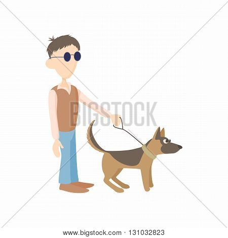 Blind man with dog guide icon in cartoon style isolated on white background. Disability and assistance symbol