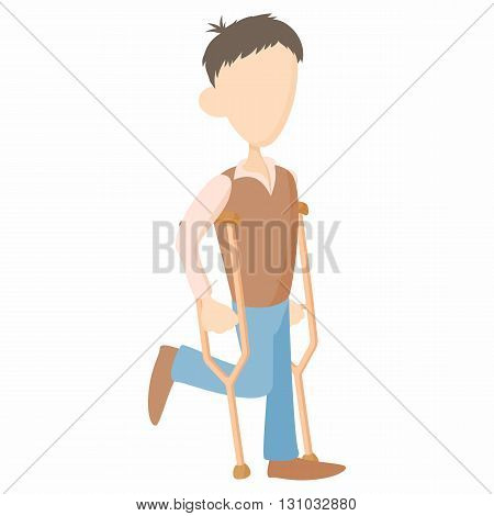 Man on crutches icon in cartoon style isolated on white background. Disability and assistance symbol