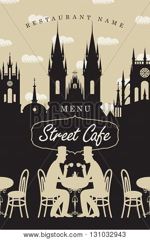 Menu for street cafe with the two gentlemen at the table drinking coffee and the old town