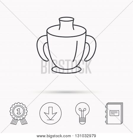 Toddler spout cup icon. Baby mug sign. Flip top feeding bottle symbol. Download arrow, lamp, learn book and award medal icons.