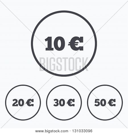 Money in Euro icons. 10, 20, 30 and 50 EUR symbols. Money signs Icons in circles.