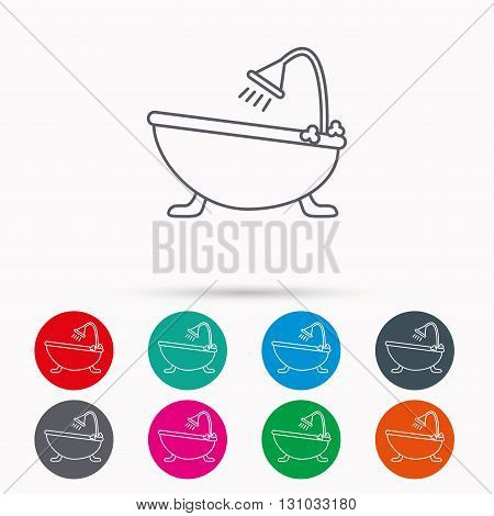 Bathroom icon. Bath with shower sign. Linear icons in circles on white background.