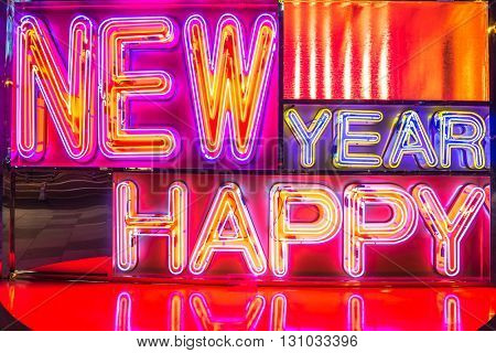 happy new year displayed by neon light