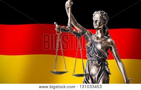 Themis With Scale, Symbol Of Justice On German Flag Background