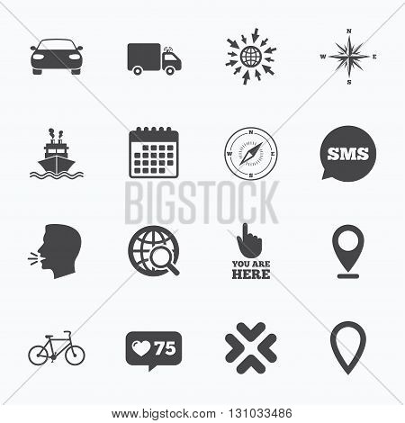 Calendar, go to web and like counter. Navigation, gps icons. Windrose, compass and map pointer signs. Bicycle, ship and car symbols. Sms speech bubble, talk symbols.