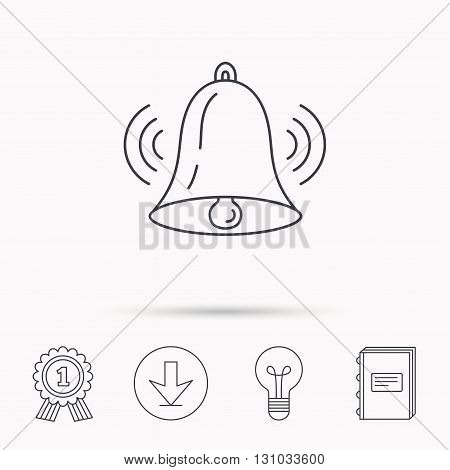 Ringing bell icon. Sound sign. Alarm handbell symbol. Download arrow, lamp, learn book and award medal icons.