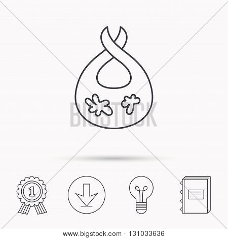Bib with dirty spots icon. Baby clothes sign. Feeding wear symbol. Download arrow, lamp, learn book and award medal icons.