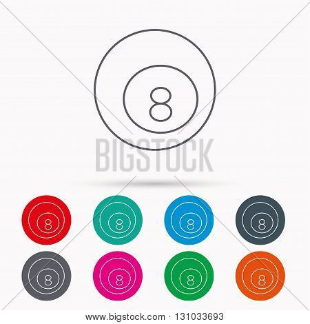 Billiard ball icon. Pool or snooker equipment sign. Cue sports symbol. Linear icons in circles on white background.