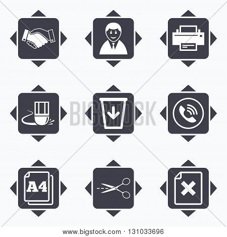 Icons with direction arrows. Office, documents and business icons. Printer, handshake and phone signs. Boss, recycle bin and eraser symbols. Square buttons.