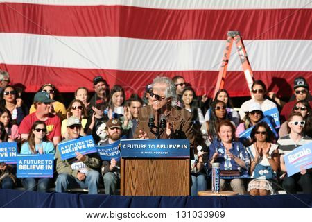IRVINE, CALIFORNIA - May 22: John Paul Densmore the drummer of the 1960s band The Doors speaks to the crowd at a Bernie Sanders in Irvine, California on May 22, 2016