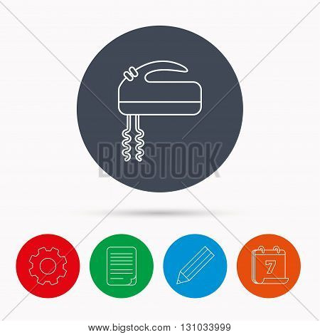 Blender icon. Mixer sign. Calendar, cogwheel, document file and pencil icons.