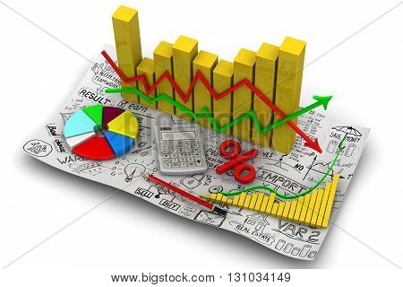 Golden charts with arrows of change data indicators electronic calculator a red pencil symbol of percent round diagram on the sheet of business sketches. Business still-life. Isolated. 3D Illustration