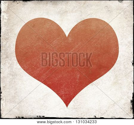 Red heart shape on textured background with grunge edges