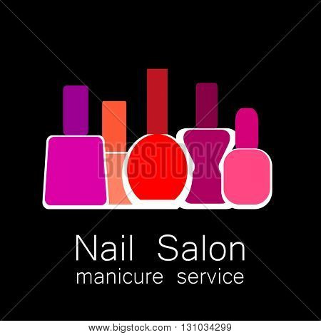 Nail Salon logo. Colorful nail polish on  black background. Design sign - nail care. Beauty industry, nail salon, manicure service, spa boutique, cosmetic products.