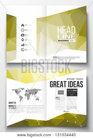 Set of business templates for brochure, magazine, flyer, booklet or annual report. Molecular construction with connected lines and dots, scientific pattern on abstract yellow polygonal background.
