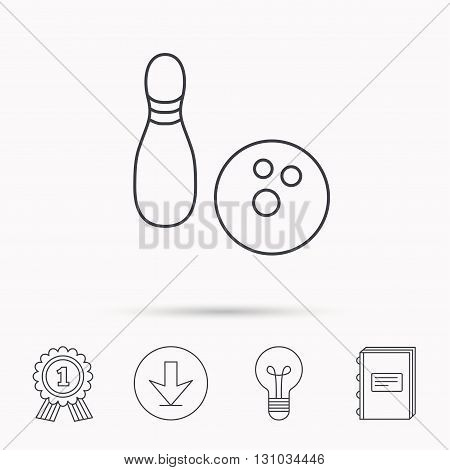 Bowling icon. Skittle or pin with ball sign. Competition sport symbol. Download arrow, lamp, learn book and award medal icons.
