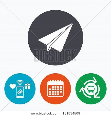 Paper Plane sign. Airplane symbol. Travel icon. Flight flat label. Mobile payments, calendar and wifi icons. Bus shuttle.