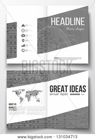 Set of business templates for brochure, magazine, flyer, booklet or annual report. Microchip background, electrical circuits, construction with connected lines, scientific or digital design