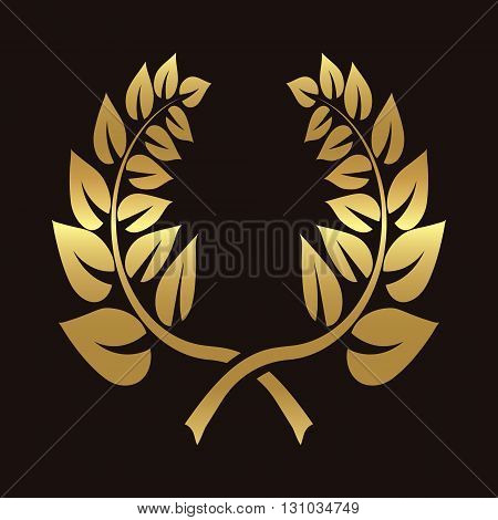 Icon, ears of wheat, vector illustrations, icons premium quality farm products in gold color on a brown background