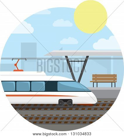 Train Station. High-speed train at the railway stop. Vector illustration round background.