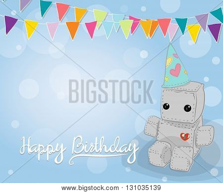 Cute felt robot plush toy with heart with love Birthday card and sitting. Robot with flag and pennant robot illustration on a light background lettering
