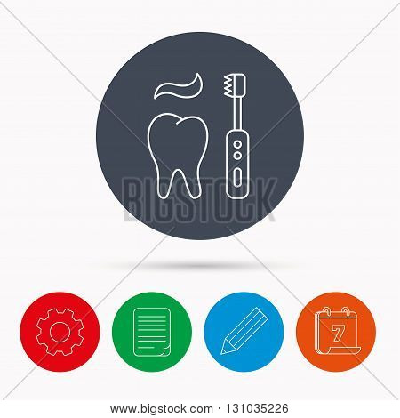 Brushing teeth icon. Electric toothbrush sign. Toothpaste and tooth symbol. Calendar, cogwheel, document file and pencil icons.