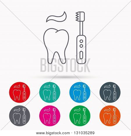 Brushing teeth icon. Electric toothbrush sign. Toothpaste and tooth symbol. Linear icons in circles on white background.