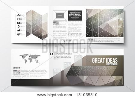 Vector set of tri-fold brochures, square design templates with element of world map. Microchip background, electrical circuits, science design vector template.