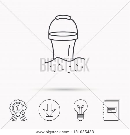 Bucket in sand icon. Trash bin sign. Child beach game symbol. Download arrow, lamp, learn book and award medal icons.