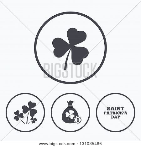 Saint Patrick day icons. Money bag with clover and coin sign. Trefoil shamrock clover. Symbol of good luck. Icons in circles.