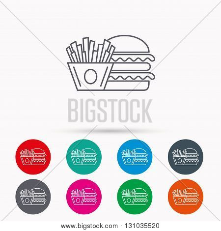 Burger and fries icon. Chips, sandwich sign. Hamburger fast food symbol. Linear icons in circles on white background.