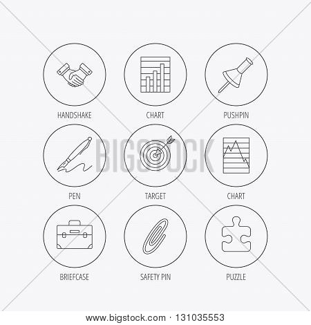 Handshake, graph charts and target icons. Puzzle, pushpin and safety pin linear signs. Briefcase and pen flat line icons. Linear colored in circle edge icons.