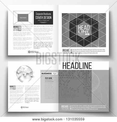 Set of annual report business templates for brochure, magazine, flyer or booklet. Microchip background, electrical circuits, construction with connected lines, scientific or digital design pattern