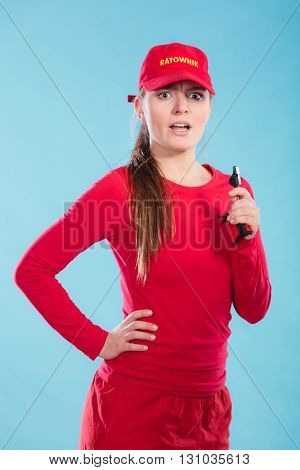 Lifeguard Woman In Cap On Duty With Whistle.