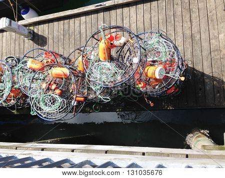 Crab traps on dock in Washington used for crabbing
